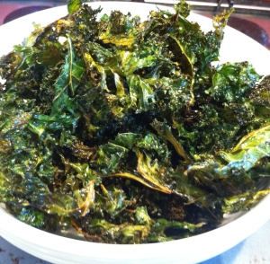 Finished kale crisps